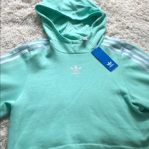 adidas cropped mint green hoodie